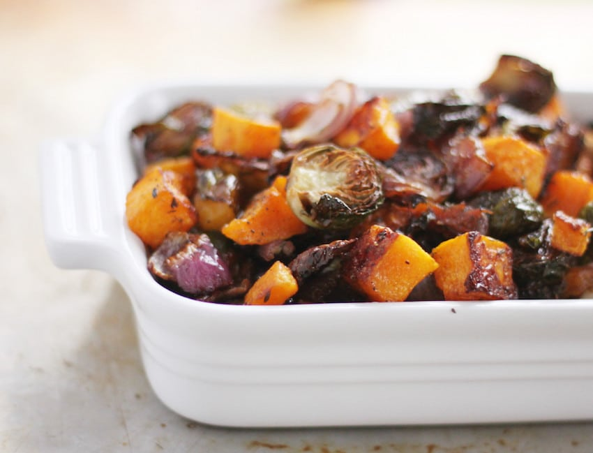 Roasted Fall Vegetables, Butternut Squash, Brussels Sprouts, Red Onion