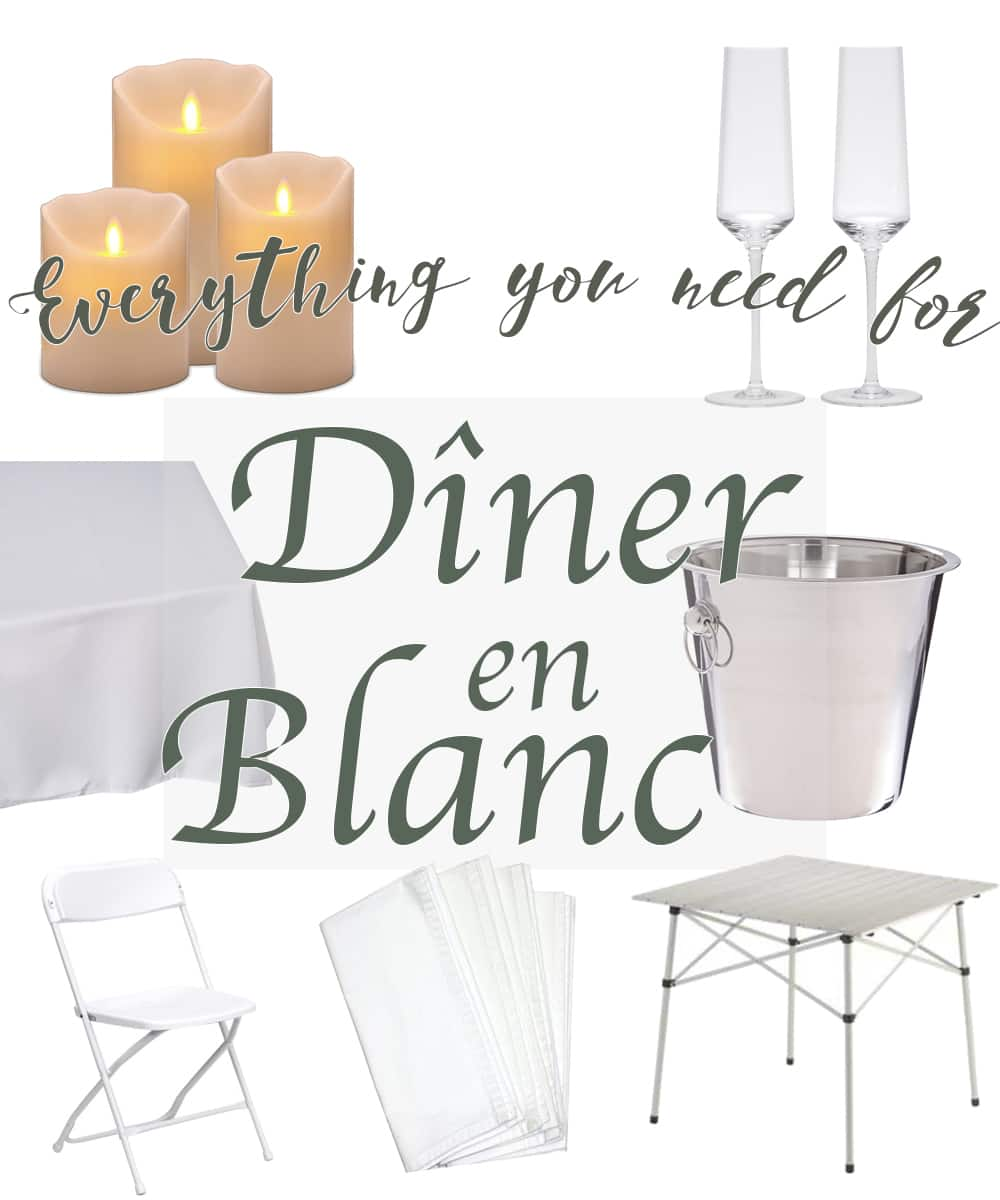 Table, glasses, and linen setup for Diner en Blanc