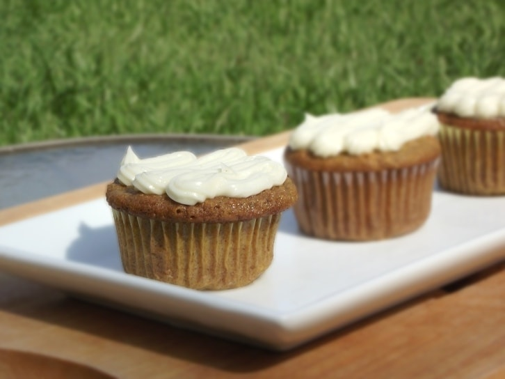 Carrot Fig Cupcakes with Bourbon Cream Cheese Frosting