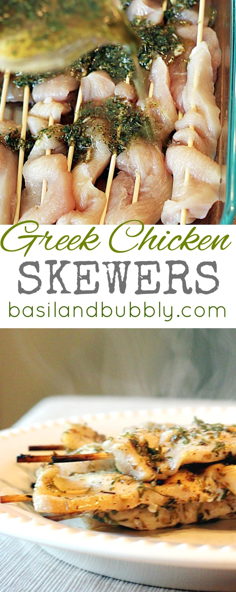 Another healthy, clean, boneless, skinless chicken recipe from Basil and Bubbly: Greek Chicken Skewers