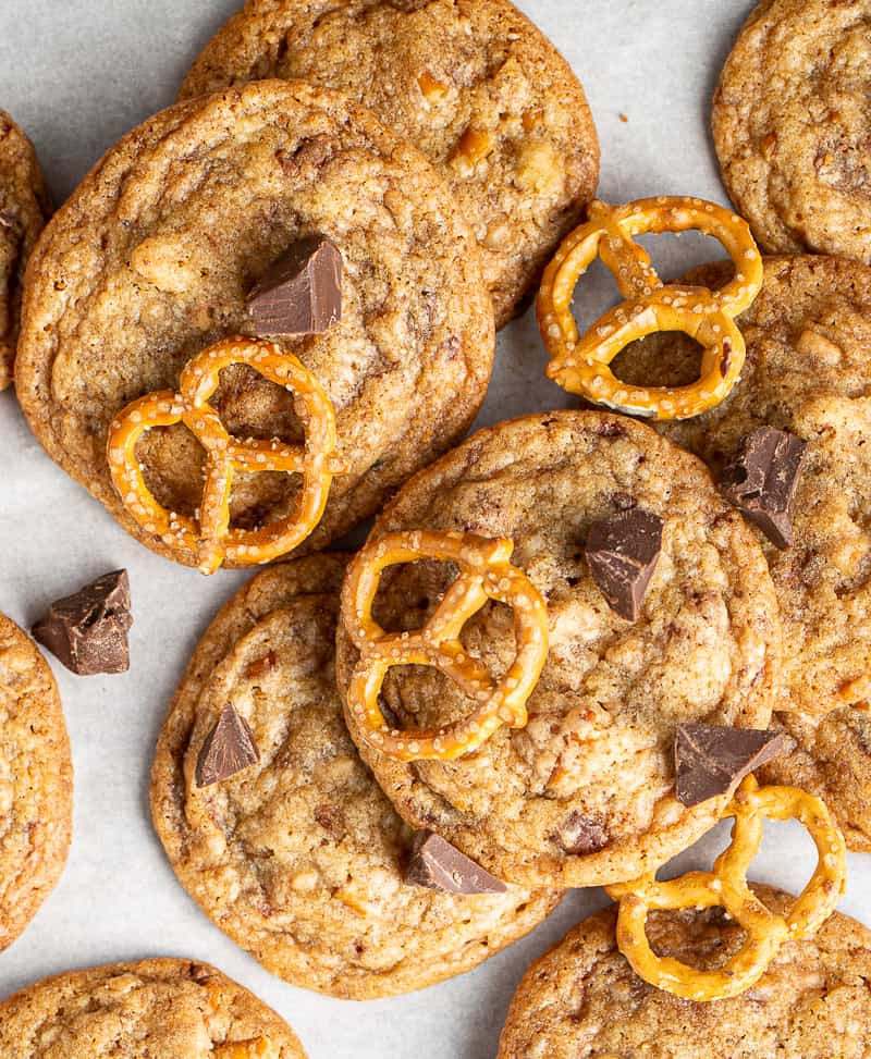 brown butter chocolate chip cookie with toffee and pretzel
