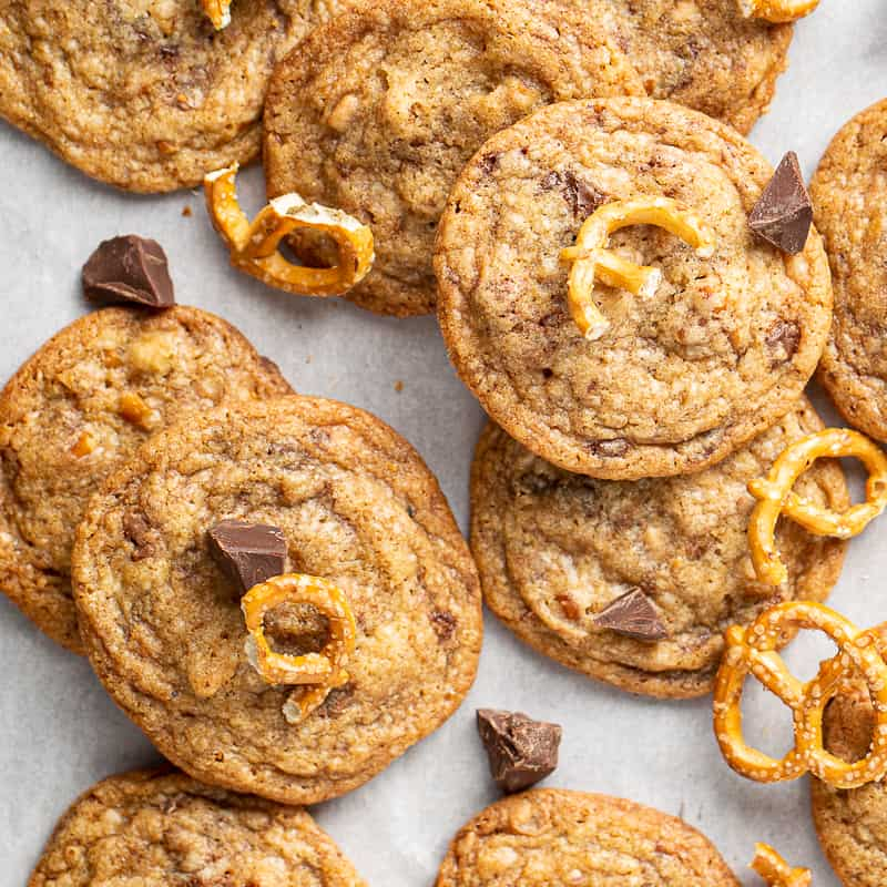 Brown Butter Chocolate Chip Cookies with Toffee and Pretzel