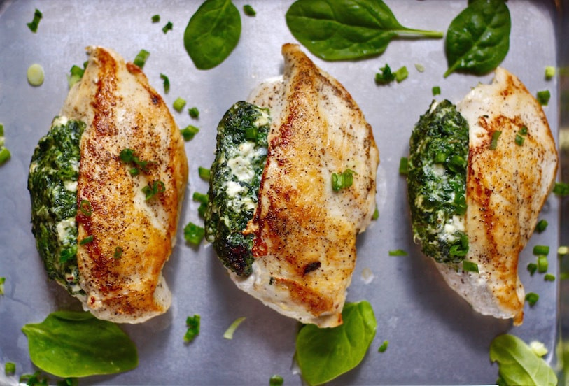Spinach Stuffed Chicken Breasts, see more at http://homemaderecipes.com/quick-easy-meals/16-easy-chicken-breast-recipes/
