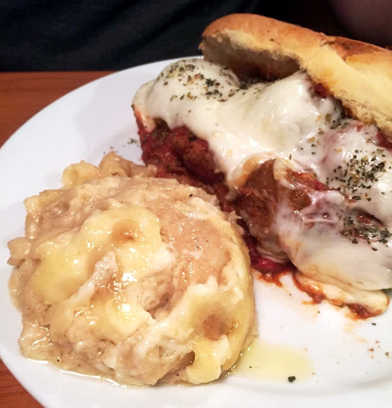 The Green Goat Meatball Sub and Newcastle Mac
