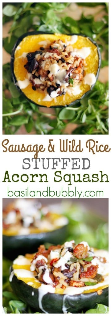Sausage and Wild Rice Stuffed Acorn Squash with Lemon Drizzle from Basil and Bubbly