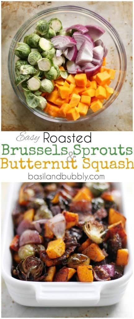 Easy Roasted Brussels Sprouts, Butternut Squash, and Red Onions