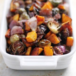 Roasted Butternut Squash, Brussels Sprouts, & Onion