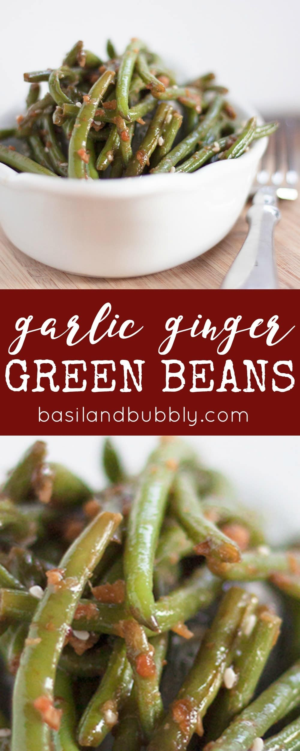 Garlic Ginger Green Beans for a Chinese Vegetable Side Dish just like PF Chang's restaurant! My favorite copycat recipe