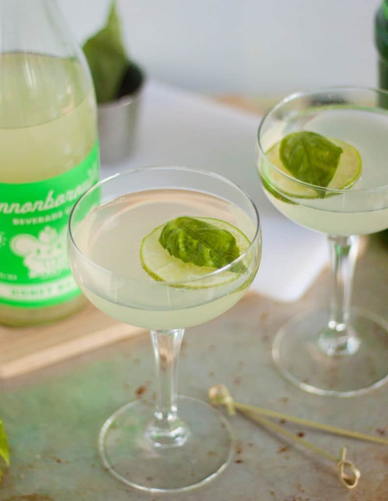 Basil Gimlet cocktail recipe. Perfect party recipe! Only two ingredients!