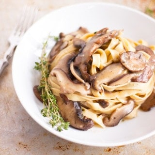 Vegetarian Mushroom Pasta recipe that can easily be made into a vegan dinner.