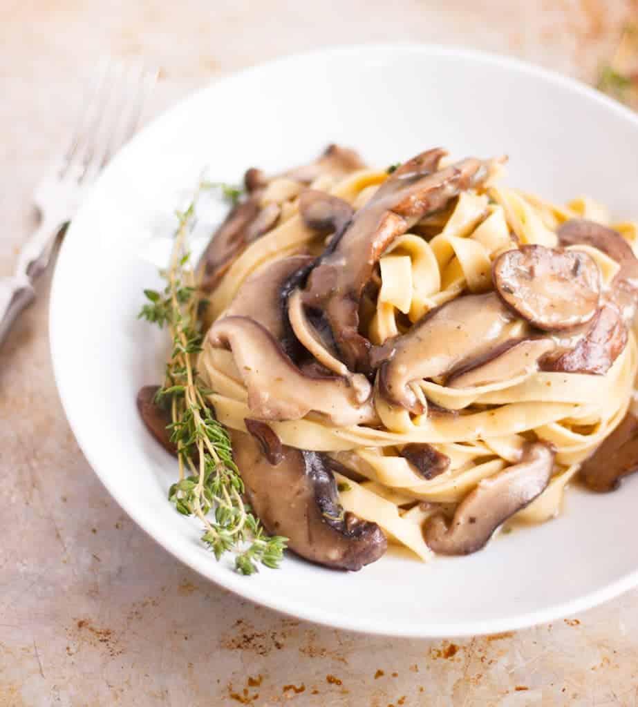 Vegetarian Mushroom Pasta recipe that can easily be made into a vegan dinner.