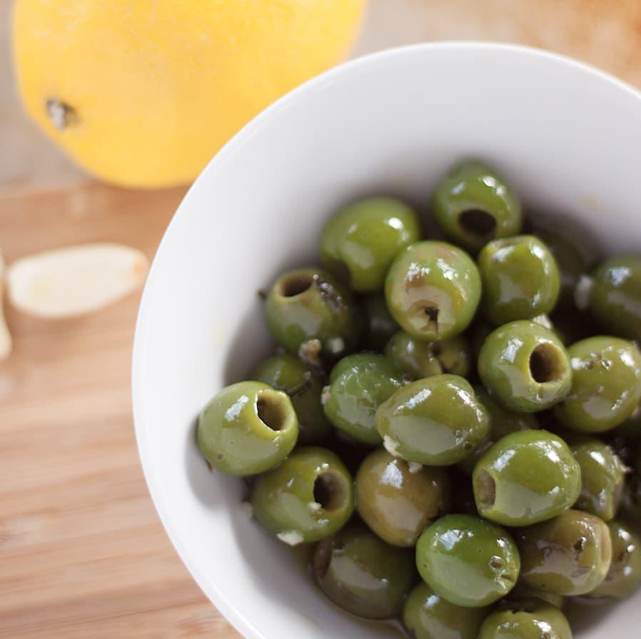 Lemon Garlic Olives