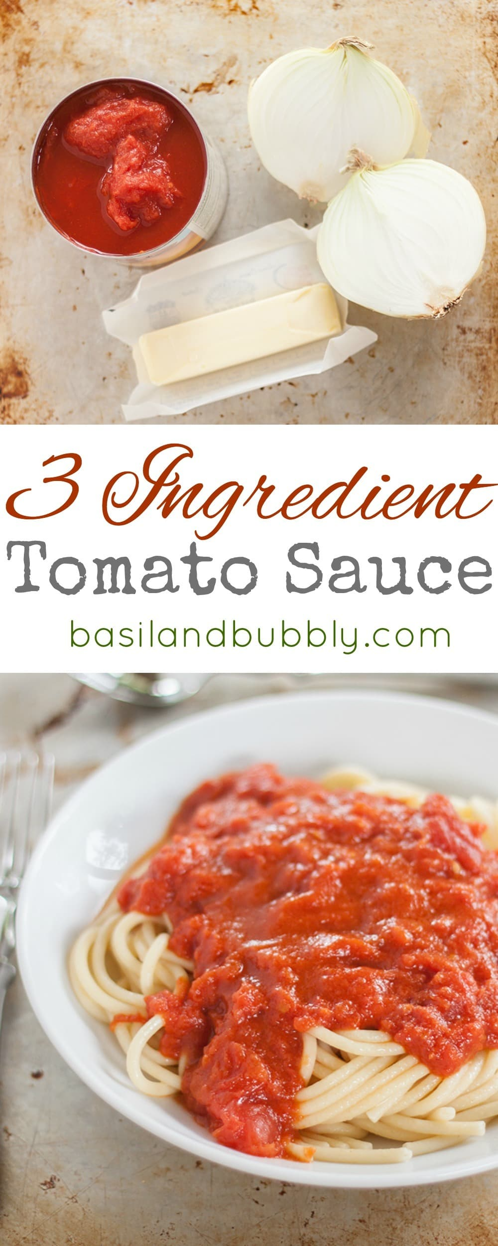 The world's easiest tomato sauce. Only THREE ingredients. Perfect for a weeknight dinner
