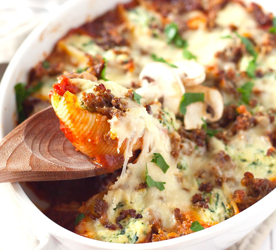 spinach stuffed shells with sausage