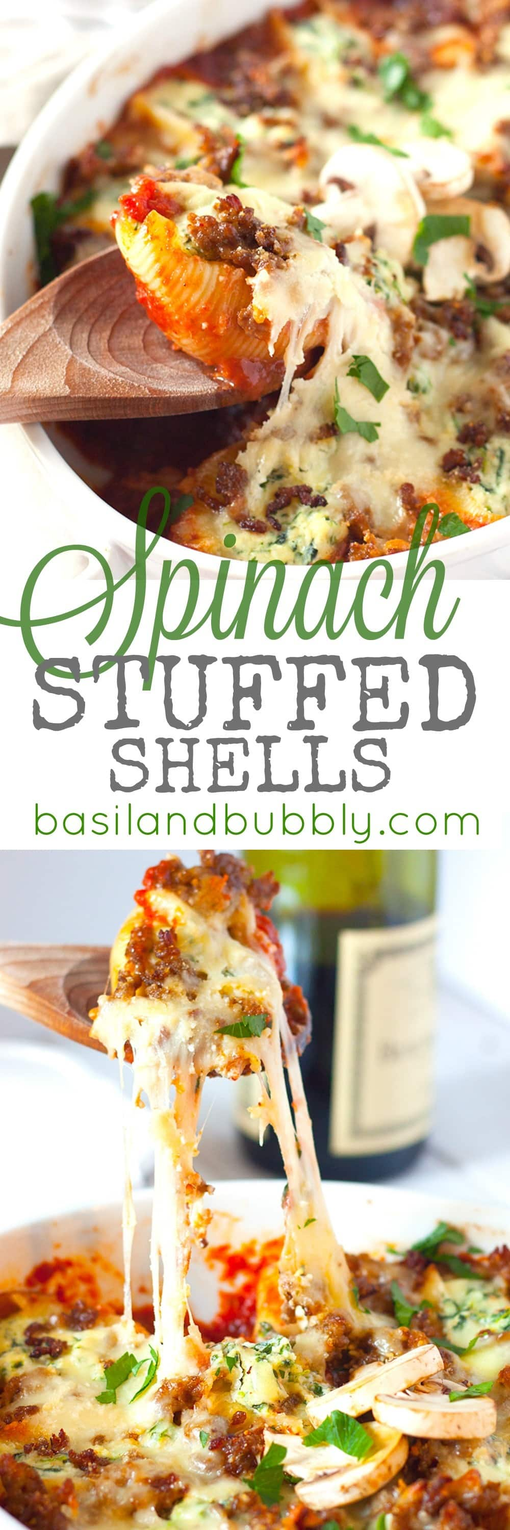 Spinach Stuffed Shells with Sausage and Mushroom Red Wine Sauce