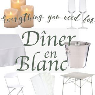Table, glasses, and linen setup for Diner en Blanc