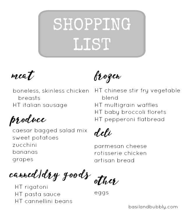 harris teeter budget shopping list