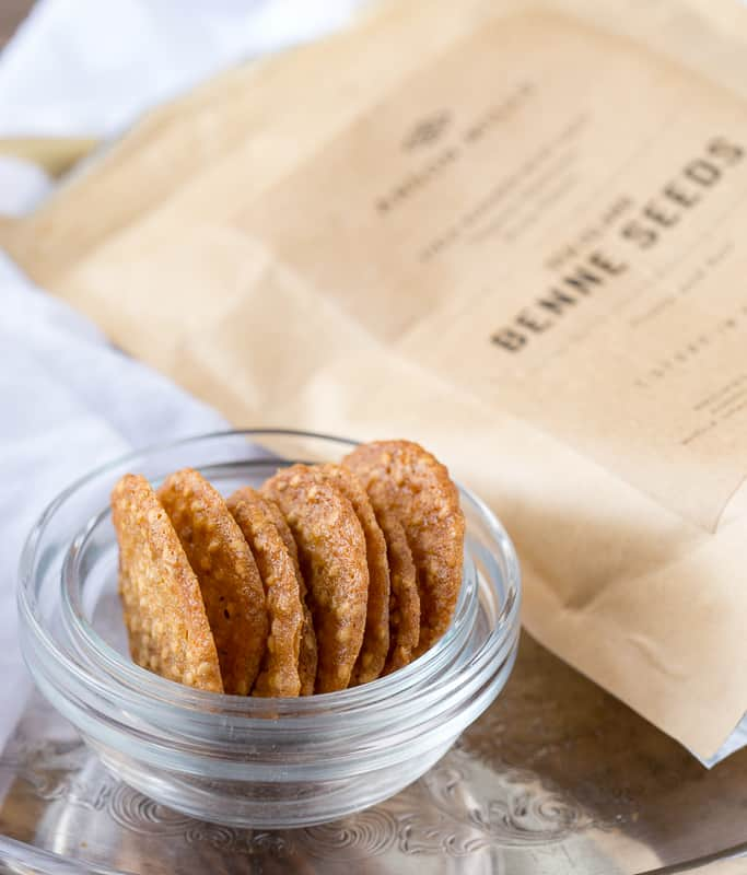 benne wafers with package of Anson Mills Benne Seeds