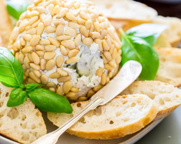 Basil Pesto Goat Cheese Ball