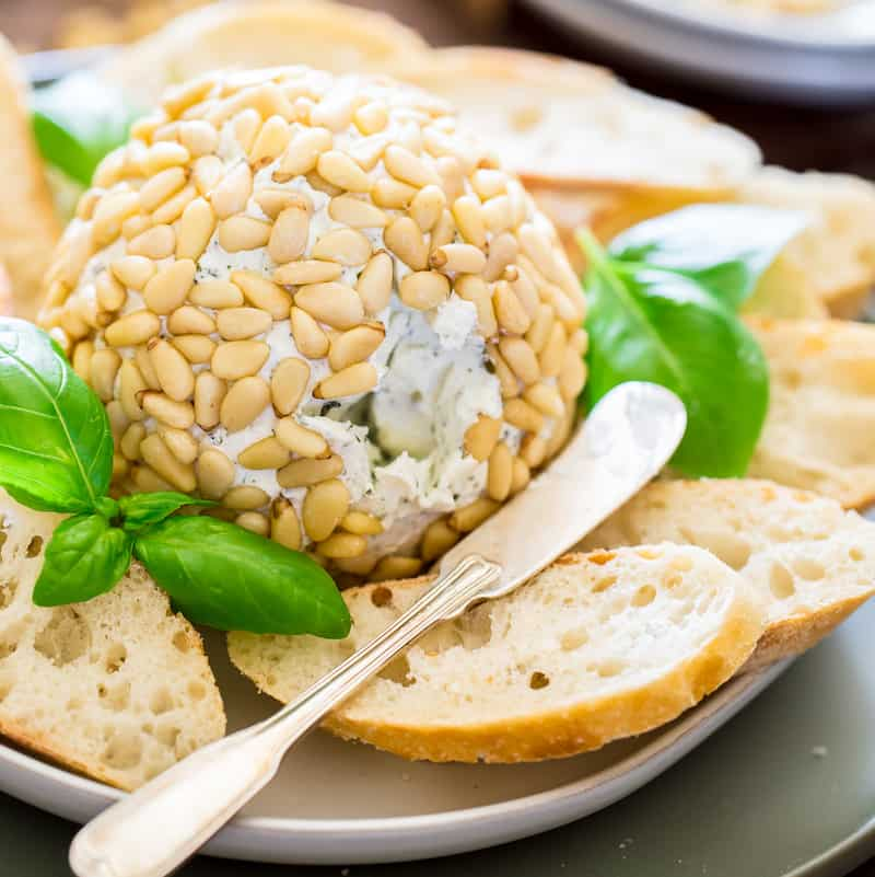 basil pesto goat cheese ball featured image
