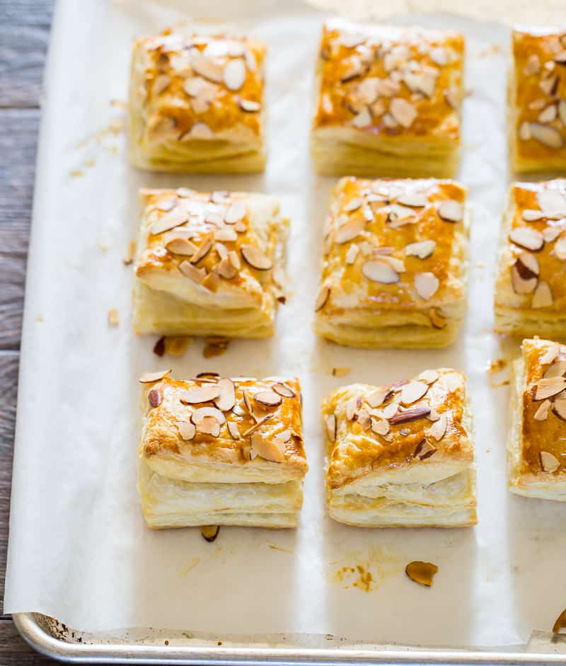 almond croissants made with puff pastry