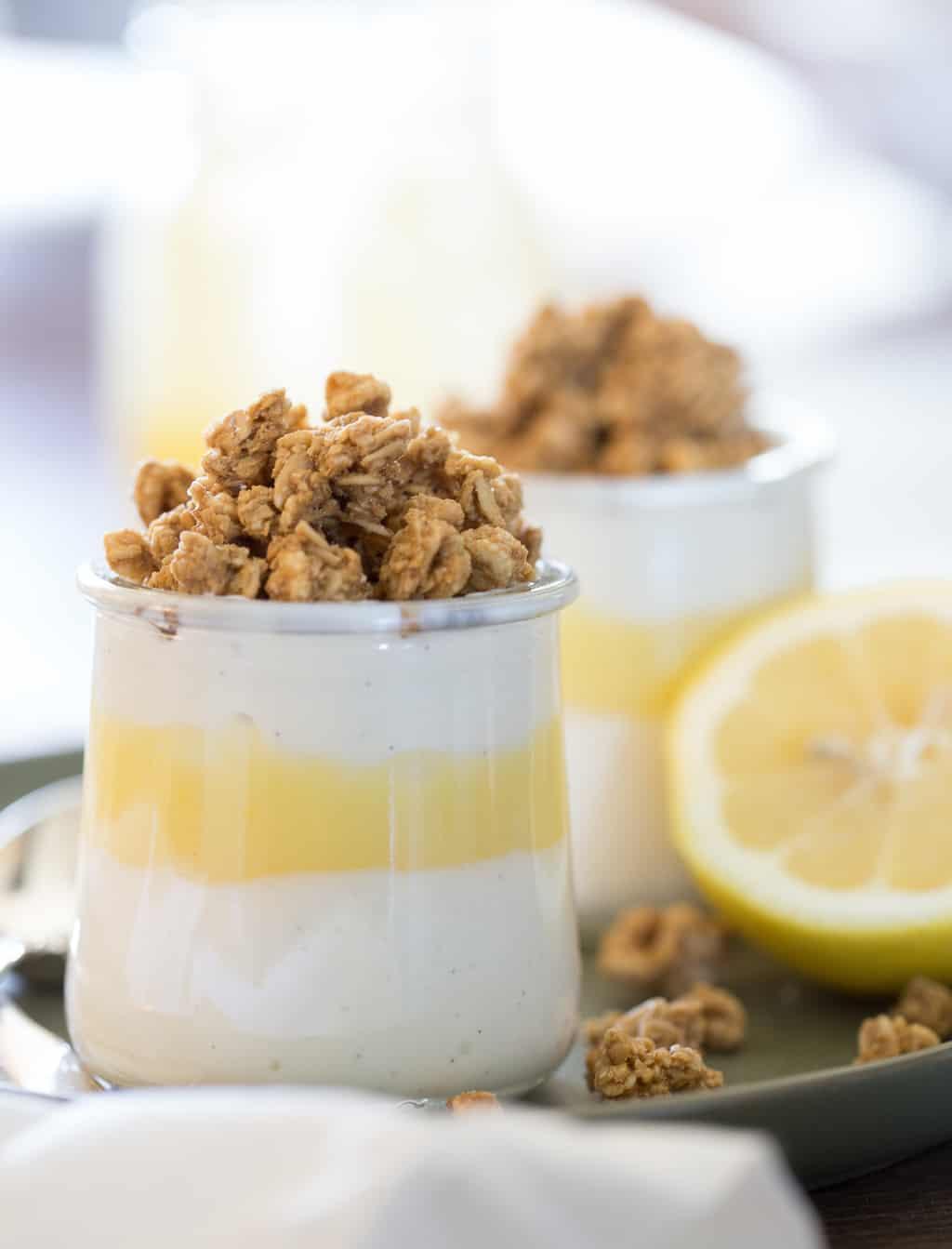 close up of granola parfait with lemon curd