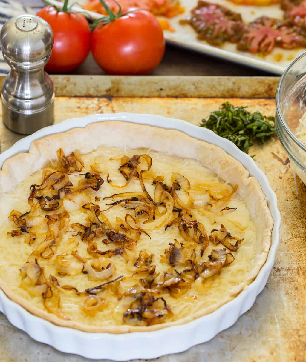 southern tomato pie onion layer