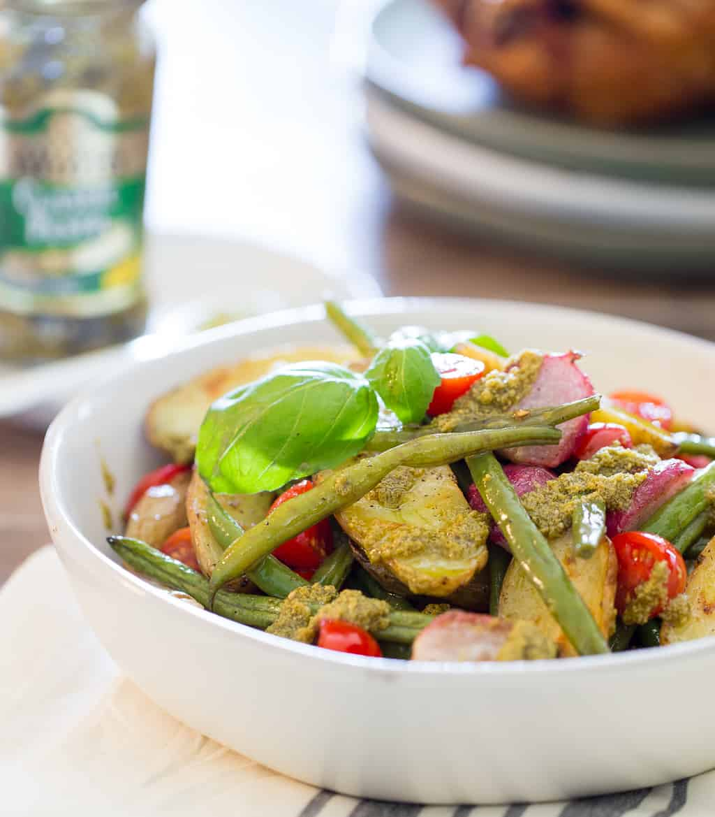 Healthy Potato Salad with Green Beans and Basil Pesto