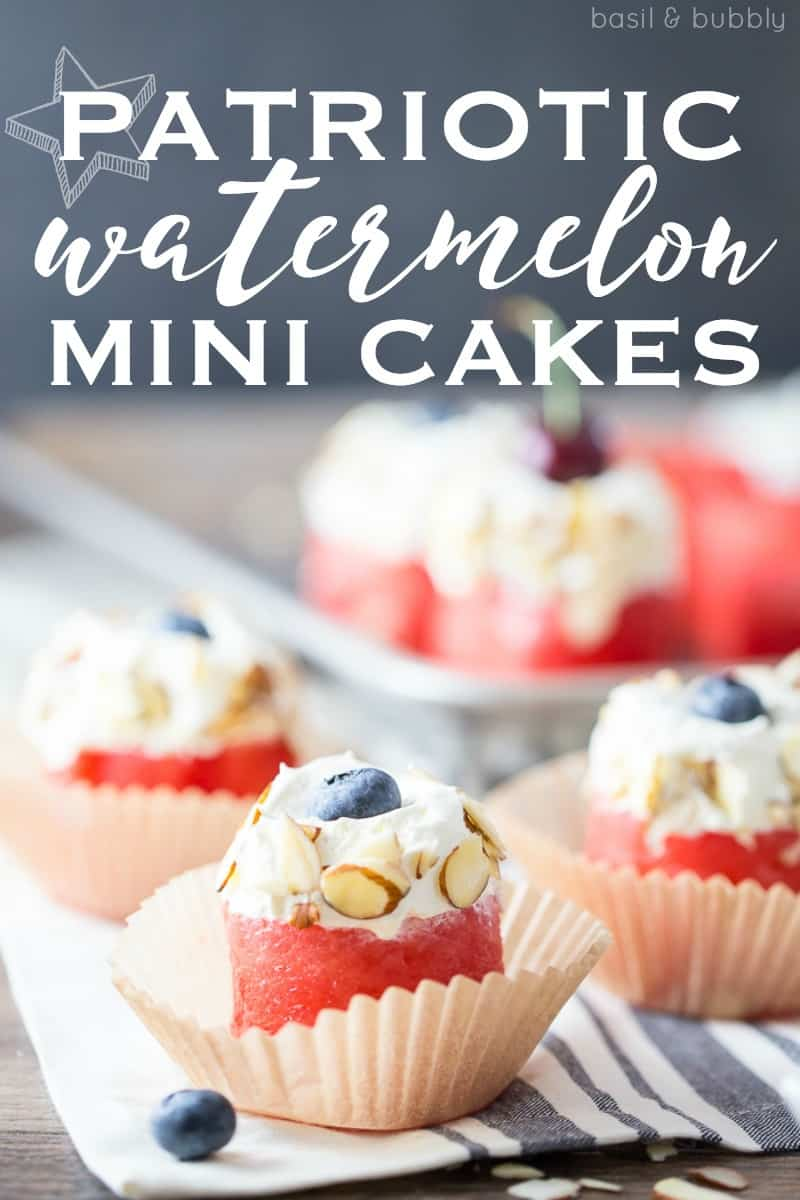 Patriotic Mini Watermelon Cakes