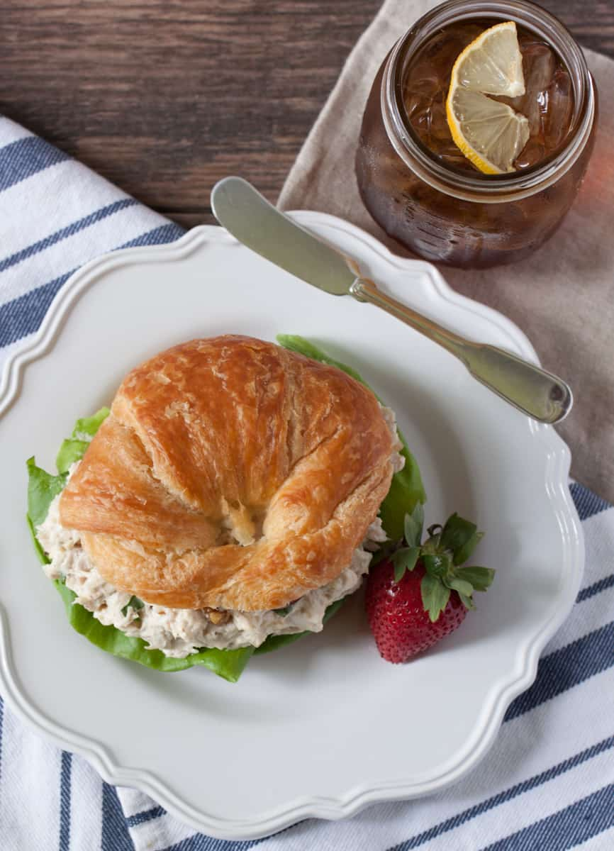 Chicken Salad with Grapes on a Croissant from above
