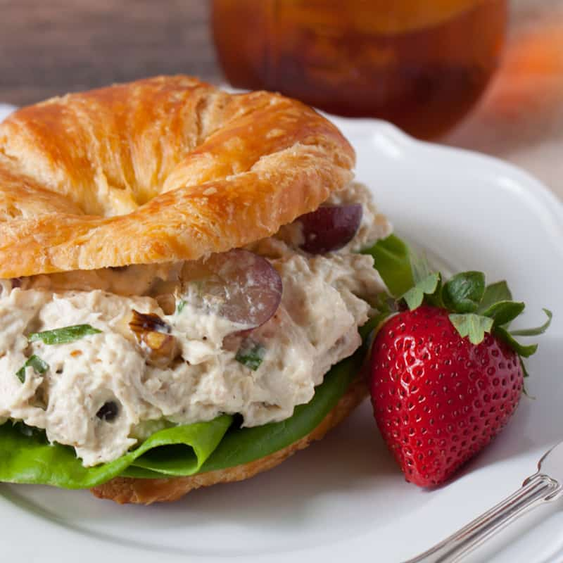 Chicken Salad with Grapes and a strawberry