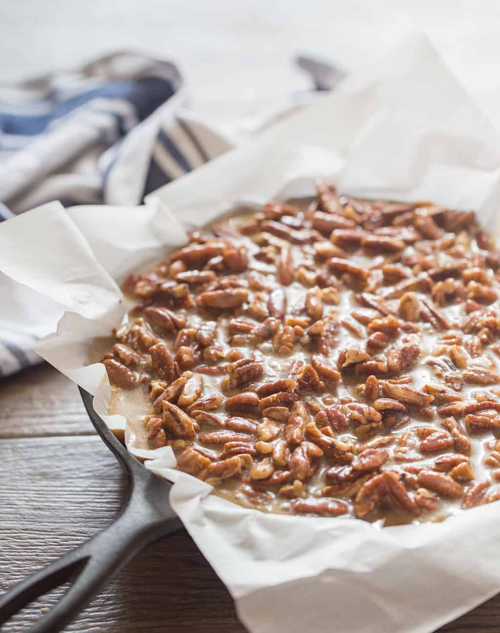 Pecan Pie Topping on Baked Bourbon Blondie
