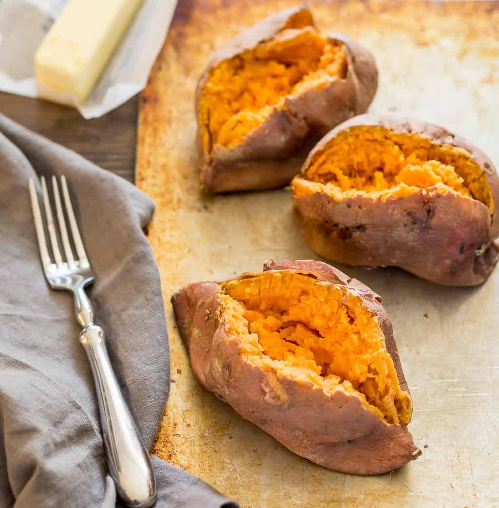 hot sweet potatoes fresh from the microwave