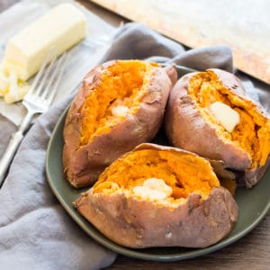 Microwaved sweet potatoes with butter