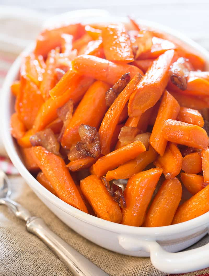 closeup of maple bacon roasted carrots