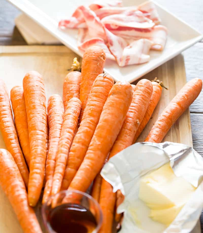 ingredients to make maple roasted carrots