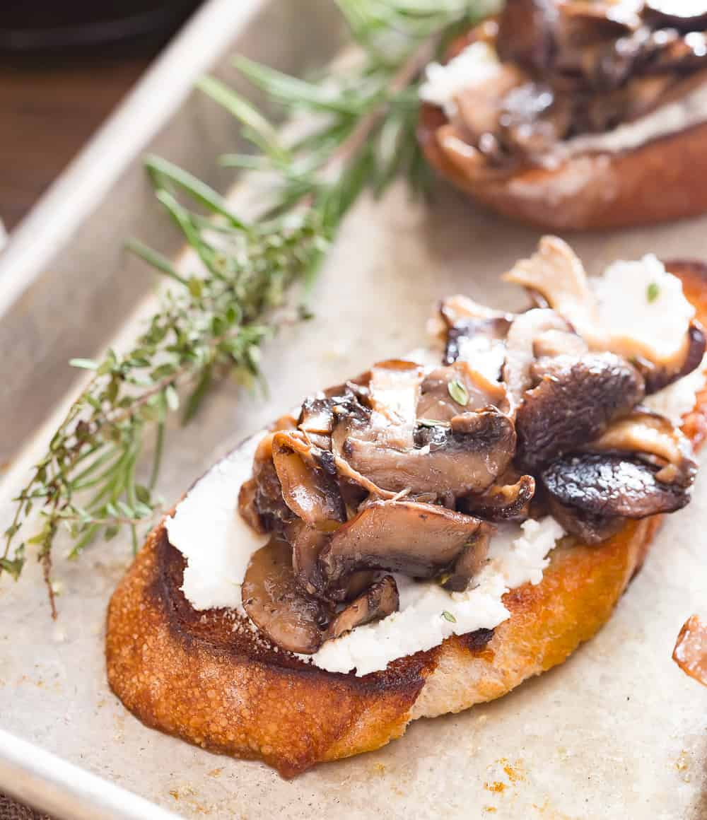 Single Mushroom Toast prepared