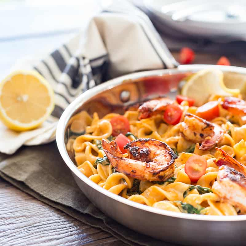 Berbere Shrimp Alfredo Noodles