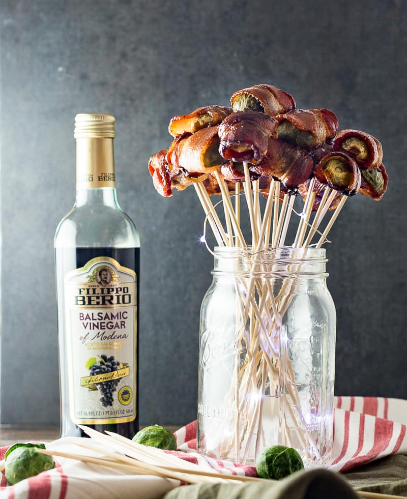 Bacon Wrapped Brussels Sprouts ready to serve