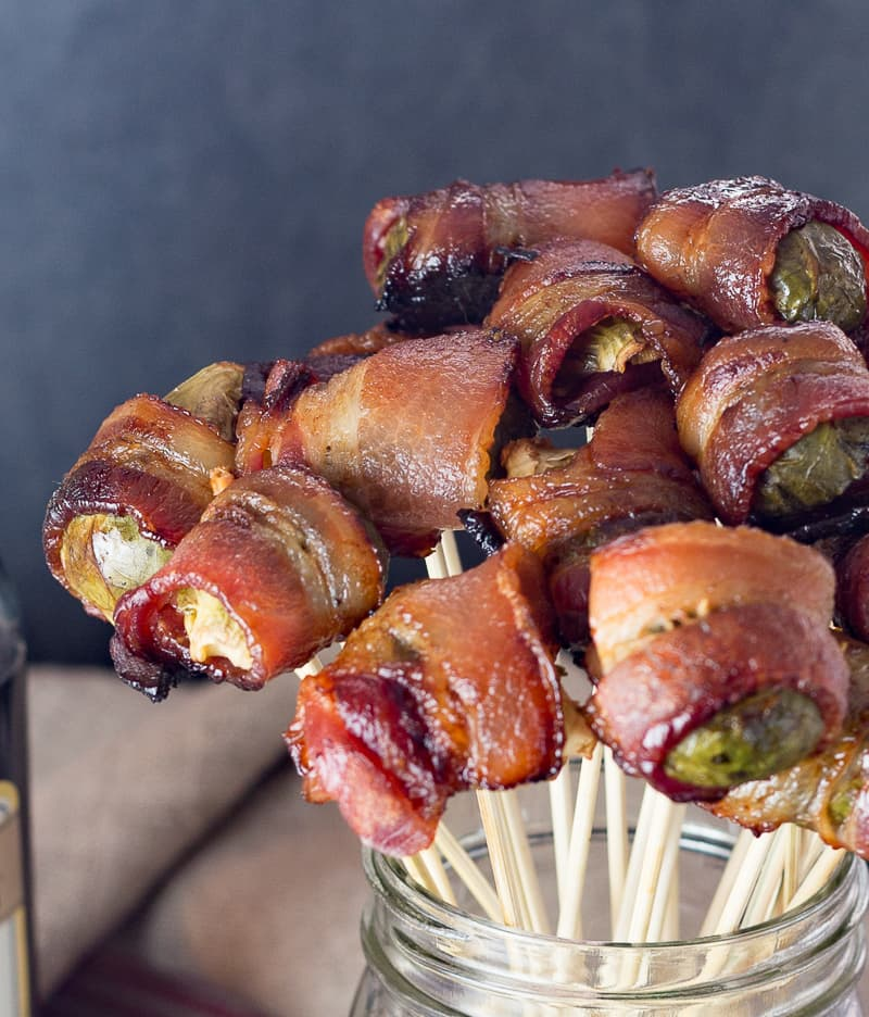 close up of brussels sprouts wrapped with bacon