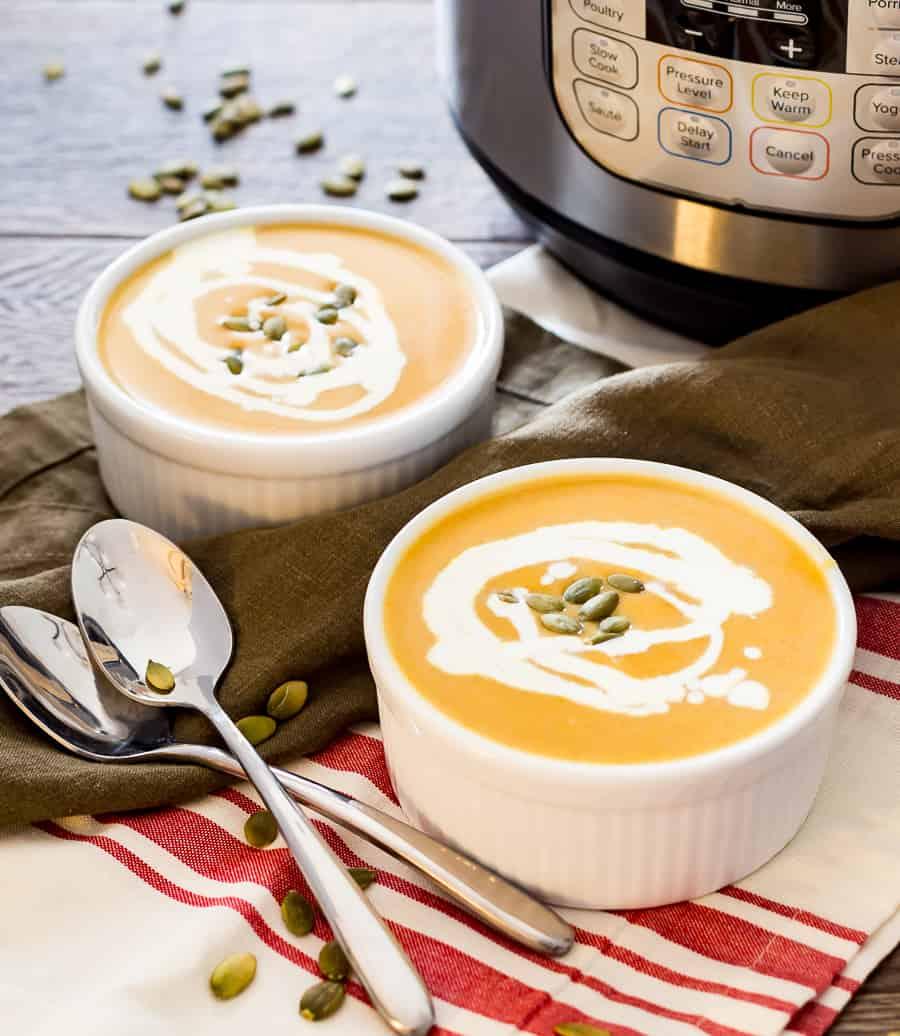 Butternut Squash Soup next to instant pot