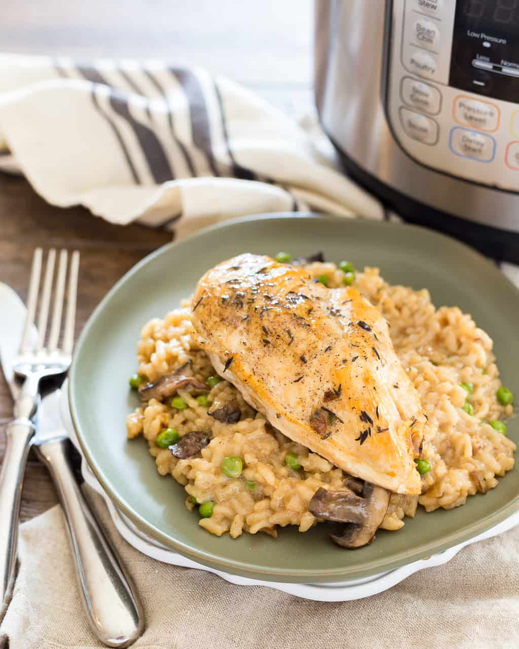 Instant Pot Risotto with Fork and Knife