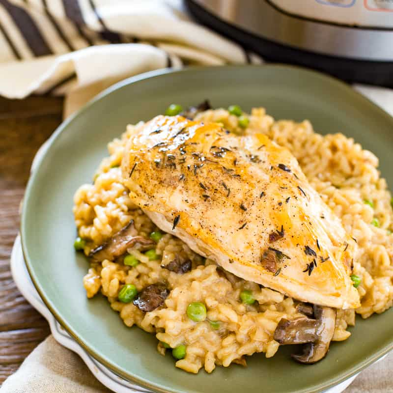 Featured image of chicken risotto made in the instant pot