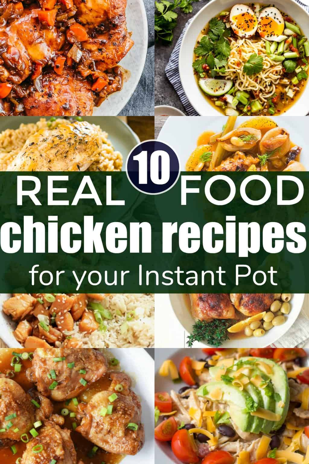 Instant Pot Chicken Recipes cover image with 8 chicken dinner photos