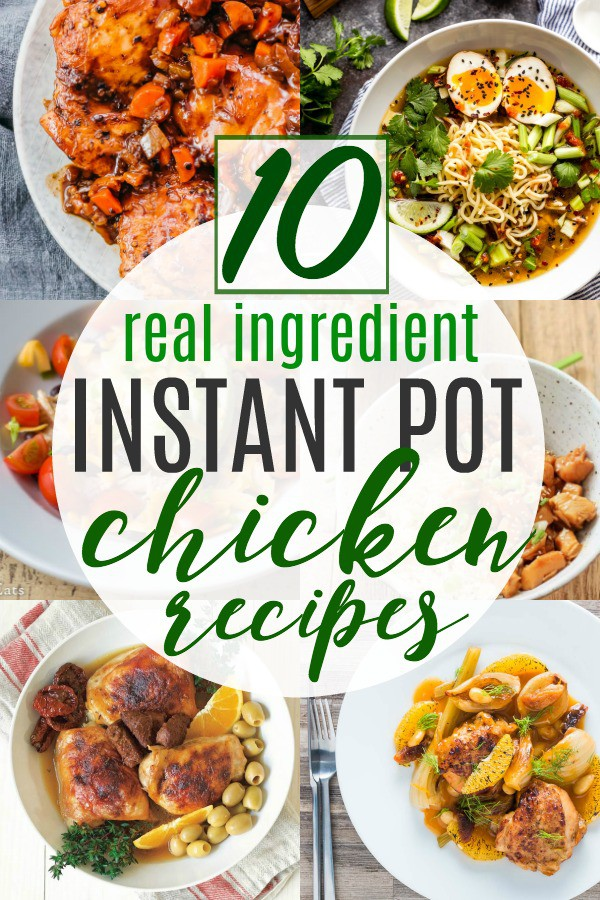 Instant Pot Chicken Recipes pin image with 8 recipe pictures