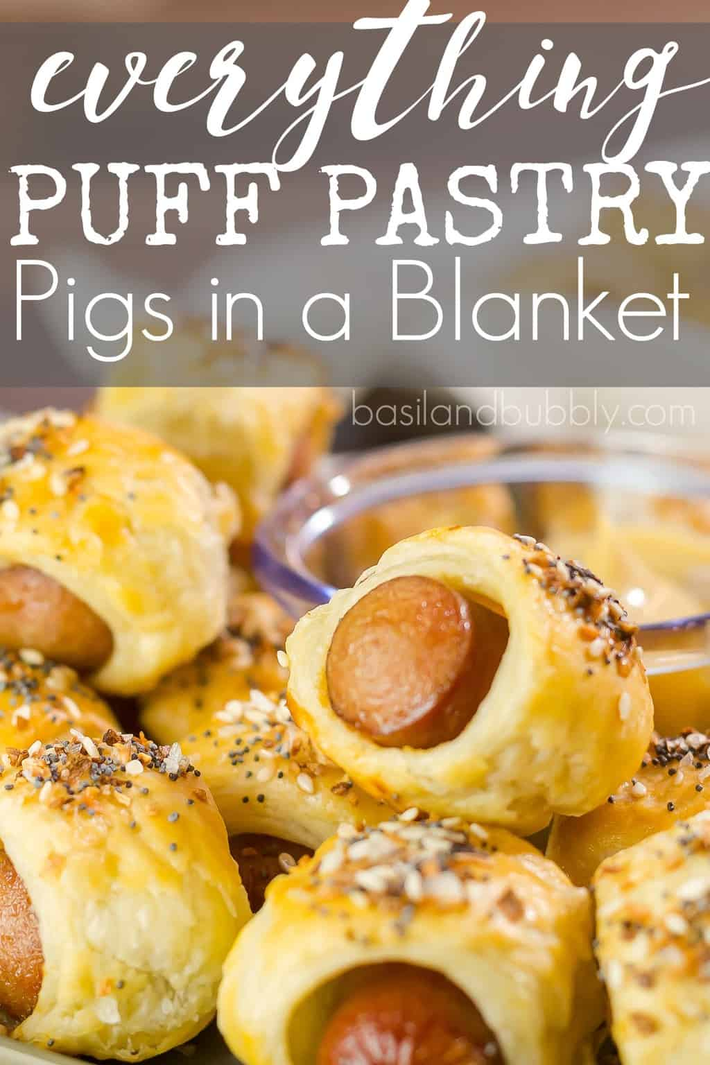 Everything Puff Pastry Pigs in a Blanket - a gourmet pig in a blanket recipe made with puff pastry and everything bagel seasoning. SO good served with mustard