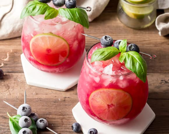 Basil Blueberry Margaritas on White Marble Coasters