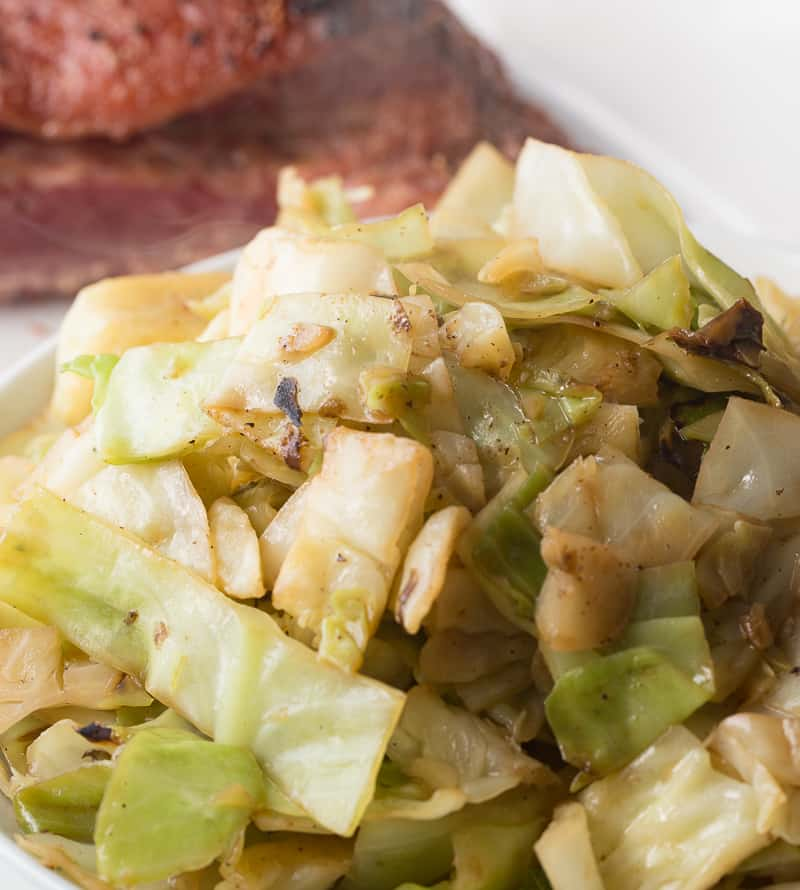 closeup of sauteed cabbage
