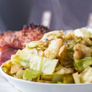steaming side of cabbage in a bowl