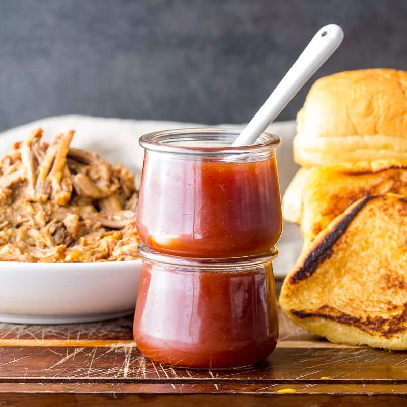 Vinegar BBQ Sauce in stacked jars